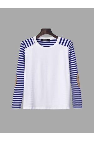 YOINS Stripe Pattern Patch Design Long Sleeve Casual T-shirt