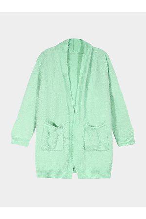YOINS Fuzzy Long Sleeve Cardigan in Aquamarine