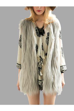 YOINS Fashion Sleeveless Artificial Fur Coat