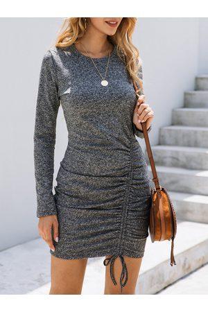 YOINS Tie-up Design Ruched Round Neck Dress