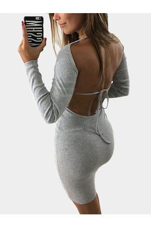 YOINS Backless Design Long Sleeves Bodycon Dress