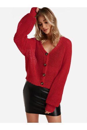 YOINS Button Design Long Sleeves Knit Cardigan