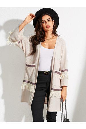 YOINS Beige Striped Long Sleeves Pocket Design Cardigan