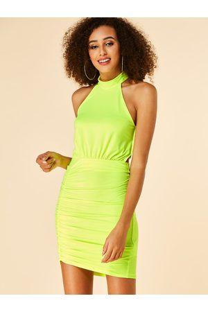 YOINS Neon Backless Design Pleated Halter Dress