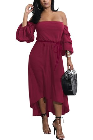 YOINS Off Shoulder Self-tie Irregular Hem Dress