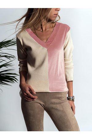 YOINS Khaki and Pink Colorblock Top