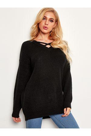 YOINS Criss-cross Plain V-neck Long Sleeves Loose Sweaters
