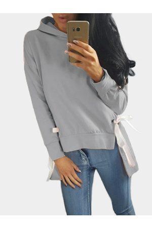 YOINS Plain Hooded Lace-up Irregular Hem Long Sleeves Hoodie