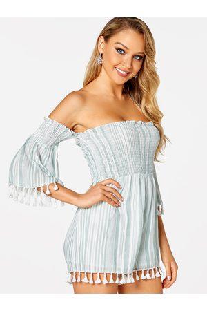 YOINS Stripe Backless Tassel Details Off The Shoulder Short Sleeves Playsuits