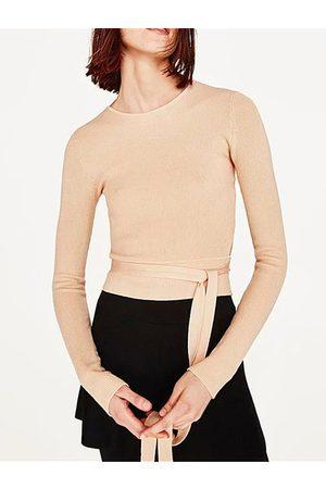 YOINS Active Round Neck Self-tie Design Sweaters in