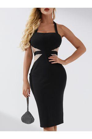 YOINS Black Backless Design Patchwork Square Neck Dress