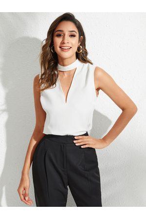YOINS Women Tank Tops - White Cut Out Sleeveless Blouse
