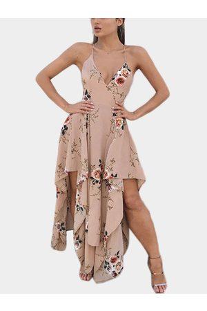YOINS Women Maxi Dresses - Khaki V-neck Open Back Irregular Hem Dress