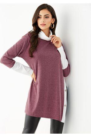 YOINS Women Turtlenecks - Button Slit Hem Design Turtleneck Sweater