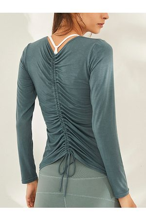 YOINS Women Long Sleeve - Green Lace-up Design Round Neck Long Sleeves Tee