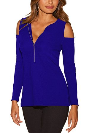 YOINS Women Long Sleeve - Zip Design Cold Shoulder Long Sleeves T-shirt