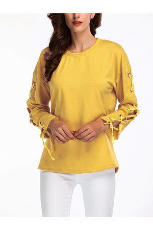 YOINS Tie-up Design Plain Round Neck Long Sleeves T-shirts