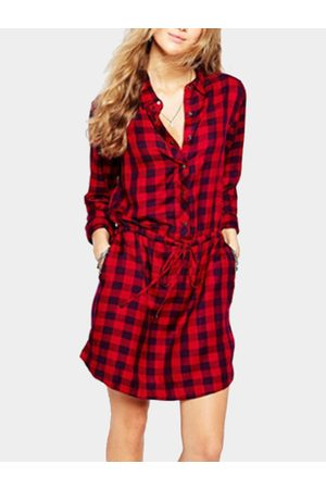 YOINS Women Casual Dresses - Check Pattern Side pockets Mini Dress with Long Sleeves