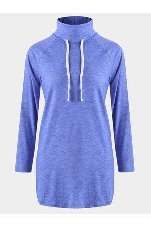 YOINS Women Blouses - Drawstring High Neck Long Sleeves Curved Hem Shirt
