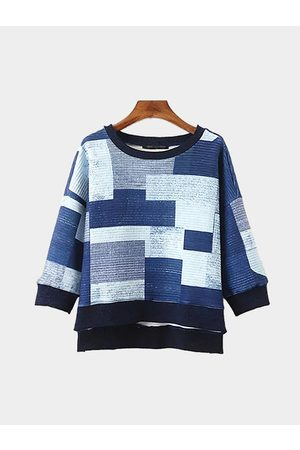 YOINS Color Block High Low Hem Sweatshirt