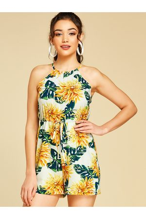 YOINS Self-tie Design Floral Print Halter Sleeveless Playsuits