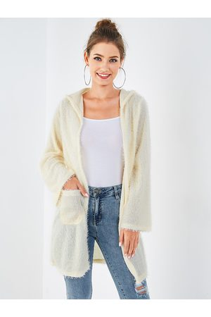 YOINS Apricot Hooded Design Long Sleeves Knit Cardigan
