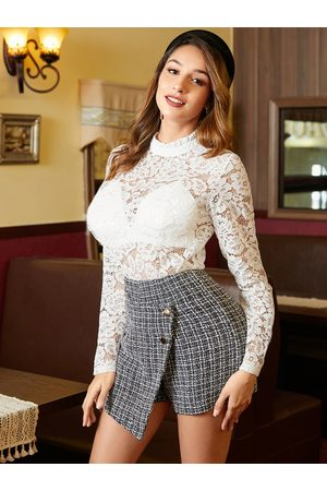 YOINS White Lace Crew Neck Long Sleeves Top