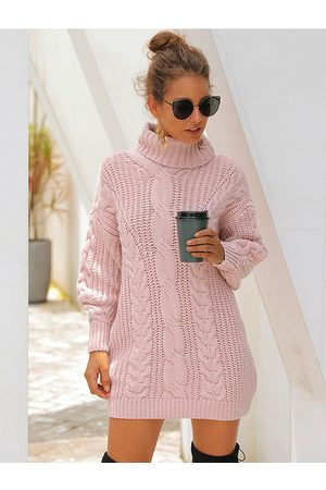 YOINS Pink Cable Knit High Neck Long Sleeves Sweater