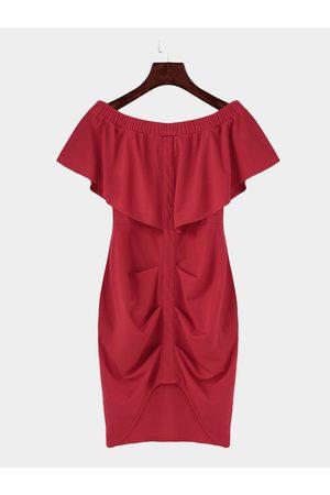 YOINS Off Shoulder Layered Split Bodycon Mini Dress