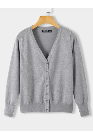 YOINS Front Button Long Sleeves Knit Cardigan