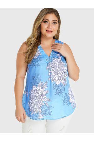 YOINS Plus Size Random Floral Print V-neck Sleeveless Top