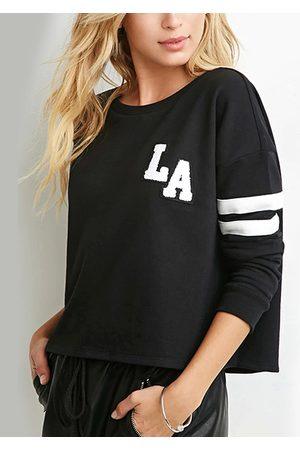 YOINS Women Sweatshirts - LA Sweatshirt with Stripe Sleeve