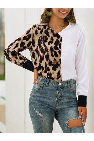 YOINS Women Blouses - Leopard Patchwork V-neck Long Sleeves Shirt