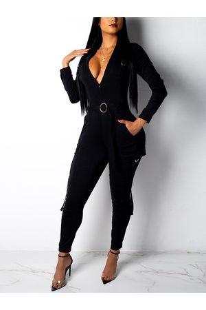 YOINS Women Long Sleeve - Black Side Pockets Long Sleeves Jumpsuit