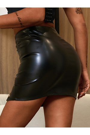 YOINS Women Leather Skirts - Black Button Front Faux Leather Skirt
