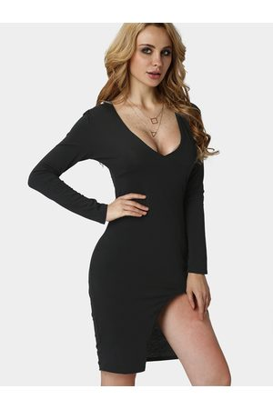 YOINS Women Bodycon Dresses - Plunge V-neck Irregular Split Bodycon Dress