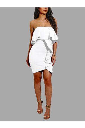 YOINS Women Bodycon Dresses - Bodycon Frills Design Strapless Mini Party Dress in