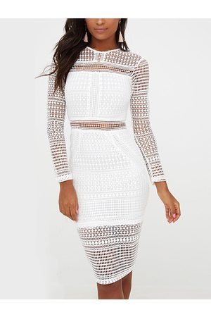 YOINS See Through Lace Details Zip Back Design Crew Neck Long Sleeves Dress