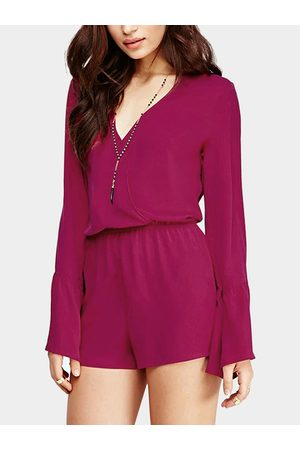 YOINS V Neck Bell Sleeve Playsuit in Magenta