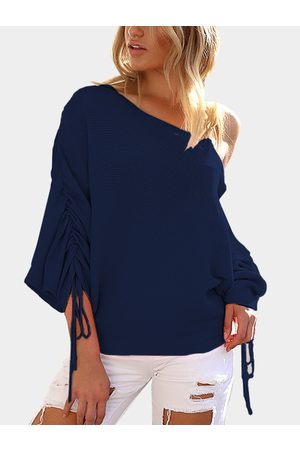 YOINS Lace-up Design One Shoulder Long Sleeves Sweaters