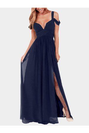 YOINS Slit Design Cold Shoulder Party Dress