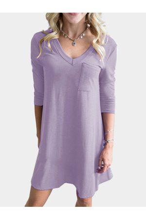 YOINS Women Casual Dresses - Pocket Design V-neck 3/4 Length Sleeves Dress