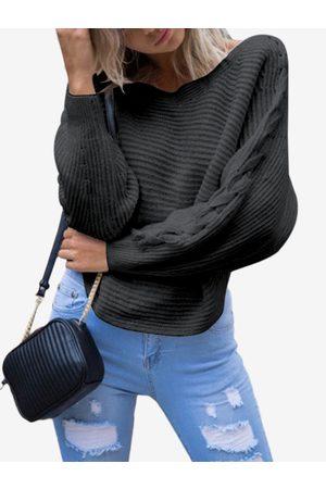 YOINS Knot Details One Shoulder Design V-neck Long Sleeves Sweaters