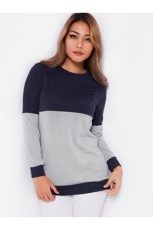 YOINS & Grey Color Block Round Neck Long Sleeves T-shirt