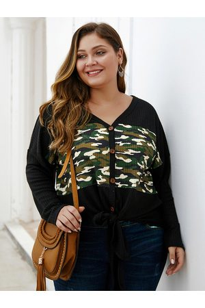 YOINS Women Jumpers - Plus Size Camouflage Patchwork Button Front V-neck Sweater
