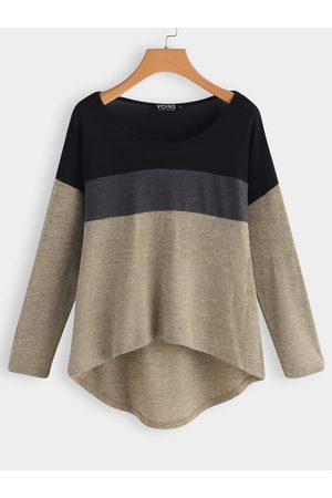YOINS Women Long Sleeve - Color Block Scoop Neck Long Sleeves High Low Hem T-shirt