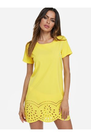YOINS Cut Out Round Neck Short Sleeves Dress