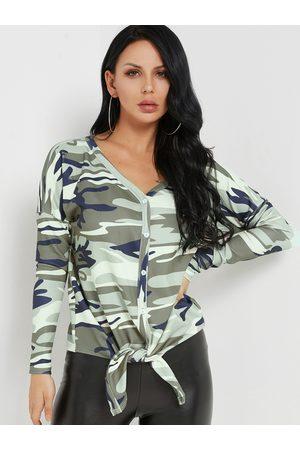 YOINS Camouflage V-neck Button-up Tie-up Hem Top