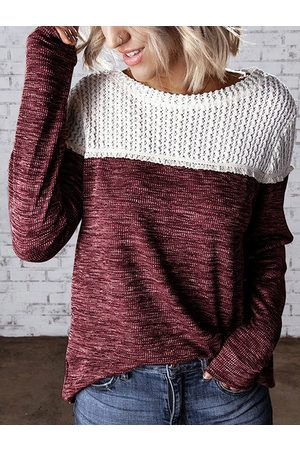 YOINS Crochet Embellished Patchwork Round Neck Long Sleeves Tee