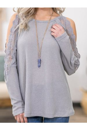 YOINS Lace Cold Shoulder Long Sleeves Knit Top